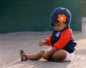 Detroit Tigers Hat, crochet baby hat, newsboy hat, baseball hat, kids hat, hat for girls