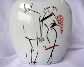 "Porcelain vase, handpainted, ""Minimalist"" Collection"