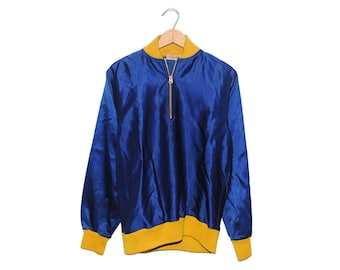 Vintage Wilson AACS #26 Blue & Yellow Pullover Satin Jacket Made in USA - Medium (os-jkt-10)