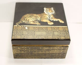 Gift for him gift for man Tea box Wooden tea box Tea Storage Box Tea Bag Box Tea bag storage Tiger
