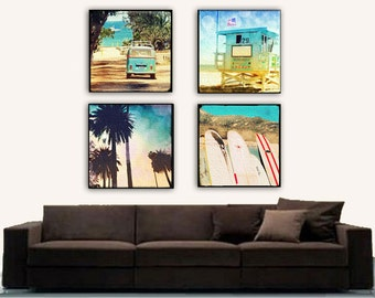 Retro Beach Large Canvas Wall Art, Surfer Canvas Wall Art, Surfing Art, California Beach Home Decor, Surfboards, VW Bus, Lifeguard Tower