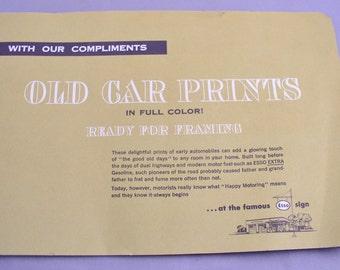 Vintage 1953 Humble Oil ESSO Old Car Prints complete promotional set - never used