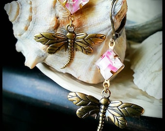 Dominique,  Faceted Vintage Givre Rhinestone and Dragonfly Earrings