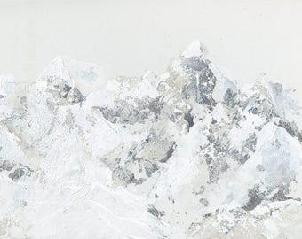 Original Metallic SIlver Mountainscape Painting, Healing and Meditation Nature Art
