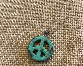 Striking Sterling Silver Custome Turquoise Peace Sign Necklace