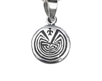 Man in Maze Symbol sterling silver pendant necklace