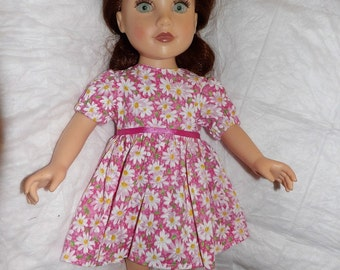 Darling pink & white Daisy dress for 18 inch dolls - ag284
