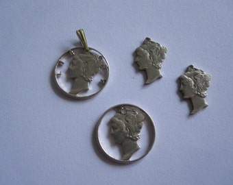 Collection of Sterling Silver Coins American Mercury Dime Cutouts