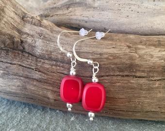 Sterling Silver Earrings, Red Earring, Red Square Earring, Sterling Silver, Dangle Earrings, Holiday Earrings, Valentine's Day, Christmas