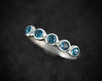 Multistone Ring, London Blue Topaz Ring,Gemstone Ring, Sterling Silver Ring, Non Diamond, Anniversary Band, Nickel Free