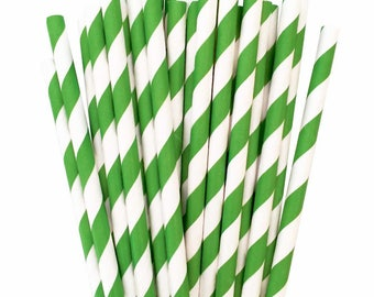 Green and White Paper Straws (25), Green Party Straws, Green Paper Straws, Christmas Straws, Emerald Green Straws, Green and White