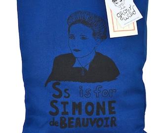 Feminist Tote Bag - Simone de Beauvoir Feminist Screenprint Tote