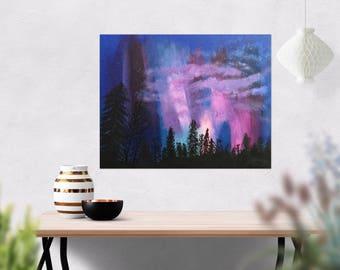 Northern Lights Art - Aurora Borealis Art - Original Wall Decor - Northern Lights Painting - Acrylic Wall Art - 11 x 14 Painting