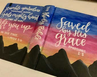 Sunset Hand Painted Bible - NIV or ESV