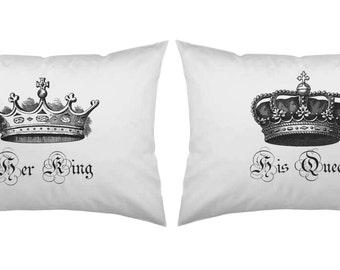 Her King His Queen pillow case set Wedding Gift Couples Pillowcases