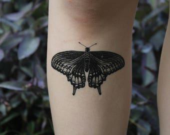 Black Swallowtail Butterfly Temporary Tattoo, Black Line Tattoo, Winged Insect, Bug Tattoo, Symmetrical Tattoo