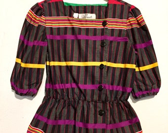 80s Vintage Rainbow Stripe Peplum Blouse medium wt27207