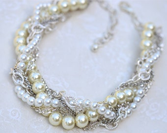 Bridal Necklace Chunky Pearl Rhinestone Silver Necklace Bridal Statement Wedding Jewelry Twisted Statement - Smaller Pearly Q