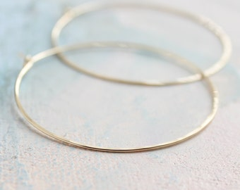 "Thin Gold Hoop Earrings, Large Hoop Earrings 2"" large thin gold hoops, gold earrings, minimalist earrings"