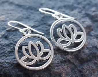 Silver lotus earrings | Lotus blossom earrings | Water lily earrings | New Age earrings | Hippie earrings | Spiritual tranquility earrings