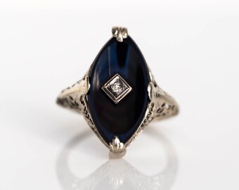Circa 1940s Late Art Deco/Nouveau 14K White Gold Onyx Plate .02ct Diamond Engagement Ring - VEG#648