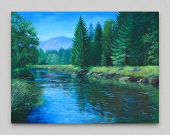 River landscape Oil painting original Canvas art Forest landscape Realism Artwork Green blue Wall art Home wall decor