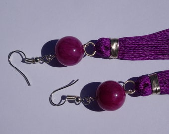 Raspberry pink-purple quartzite earrings with long tassel.