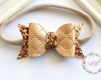 Gold Bow Headband - Faux Leather Gold Bow Headband - Glitter Bow Headband - Baby Gold Bow Headband - Gold Glitter Bow Headband
