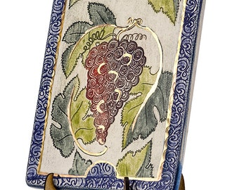 Ceramic Wall Plaque Gefen Vine _FREE SHIPPING_limited edition 24k Gold Judaica