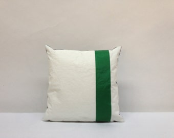 Recycled Sail Nautical Pillow - GREEN Number One (1)