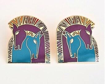 "Rare Laurel Burch Signed ""Embracing Horses"" Purple and Teal Post Earrings"