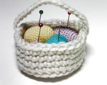 Basket Of Eggs, Egg Pincushion, Miniature  Hand Crocheted Egg Basket, Pincushion, Eggs