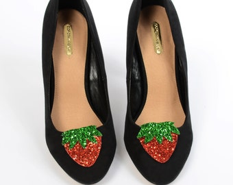Red and Green Glitter Strawberry Shoe Clips (set of two), handmade in the UK