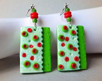 Poppy Flower Earrings, dangle earrings, red poppies, handmade earrings, polymer clay, red flowers, red green earrings, large big bold, poppy
