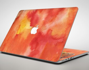 Red 53 Absorbed Watercolor Texture - Apple MacBook Air or Pro Skin Decal Kit (All Versions Available)