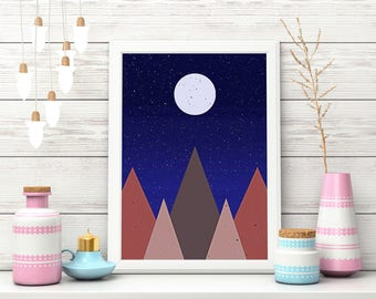 Abstract Landscape Print, Minimalist Art, Mountain Print, Geometric Print, Modern Art Print, Wall Decor, Printable Art, Instant Download