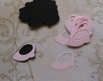 20 Minnie Mouse Shoe Shapes Choose shade of Pink Black Die Cut pieces for crafts Cupcake Picks DIY Kids Crafts Birthday Party etc.