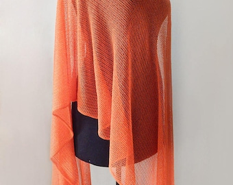 Knitted cotton orange scarf, lace cotton scarf, knitted orange cotton wrap, lace wrap, women's summer scarf, orange wrap, summer wrap
