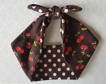 black polka dot cherry bandana, rockabilly pin up psychobilly tattoo hairband headband