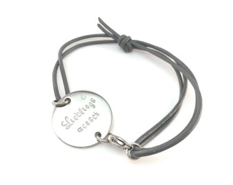 Bracelet favorite man, color choice, name, request annotations, stainless steel, leather