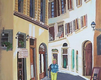 Landscape Cityscape Tuscany Art Painting of a Woman Walking in Italy Along Storefronts.