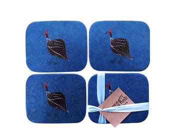 Drinks Coasters, Set of 4, hand decorated with Guinea Fowl, hand textured annabel blue & hand tied with a blue ribbon