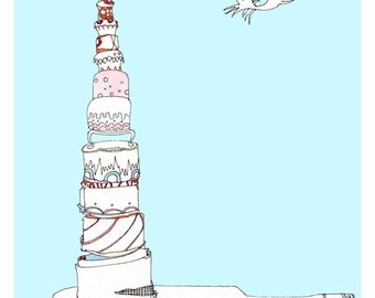 Birthday Art Print, Birthday Cakes, Hummingbird, Choice of blue or white background