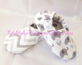 Flannel Reversible Baby Shoes Gray Elephant Gray Chevron | Crib Shoes | Booties |  Baby Slippers | Soft Sole | Ready to Ship