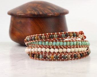 Boho Wrap Bracelet Caramel Leather Wrap Boho Jewelry Copper 4x Wrap Bohemian Jewelry Aqua Green Cream Brown Gemstone Bracelet Skinny Wrap