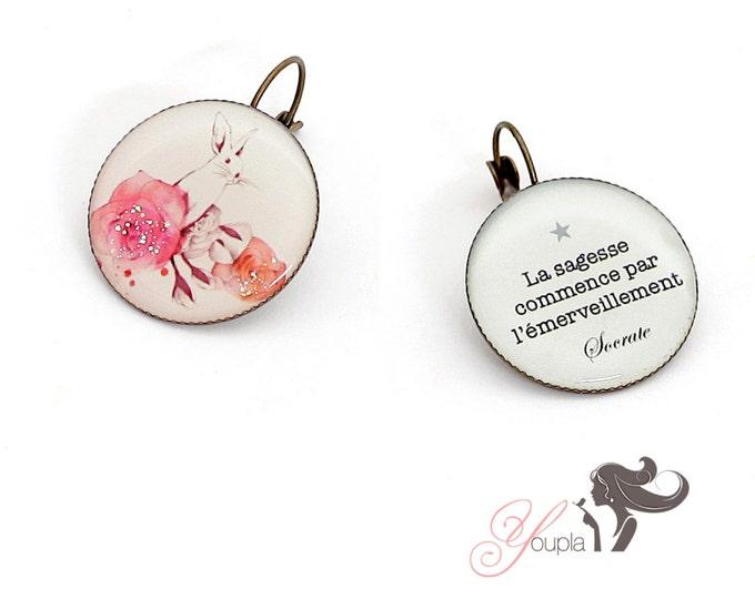 Earrings resin (25mm in diameter) - brass - collection La Plume à l'Oreille (CW5 + T40)