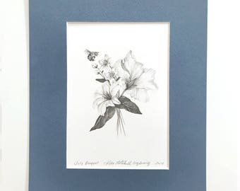 """Floral Bouquet with Honey Bee Original Drawing 5x7"""" Matted"""