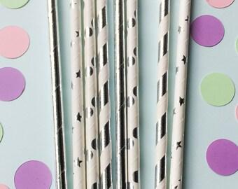 Silver Foil Paper Straws • Bridal Shower Decor • Baby Shower Decor • Bachelorette Party • Wedding Decor • Birthday Decor • Pack of 25
