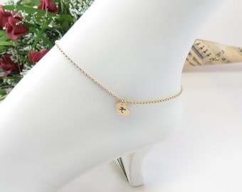Initial Heart Anklet In 14K Gold Filled, Heart Charm Anklet, Personalized Anklet, Monogram Heart Anklet, Keira's Crystal Creations