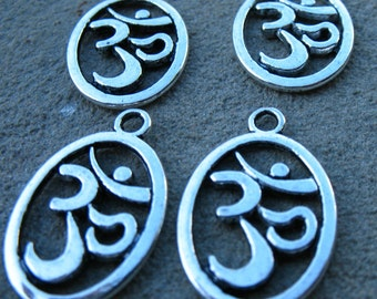 20 Silver Om Charms 22mm Antiqued Silver